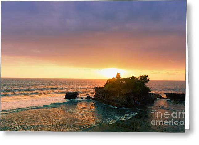 Bali Tanah Lot Temple At Sunset Greeting Card by Fototrav Print