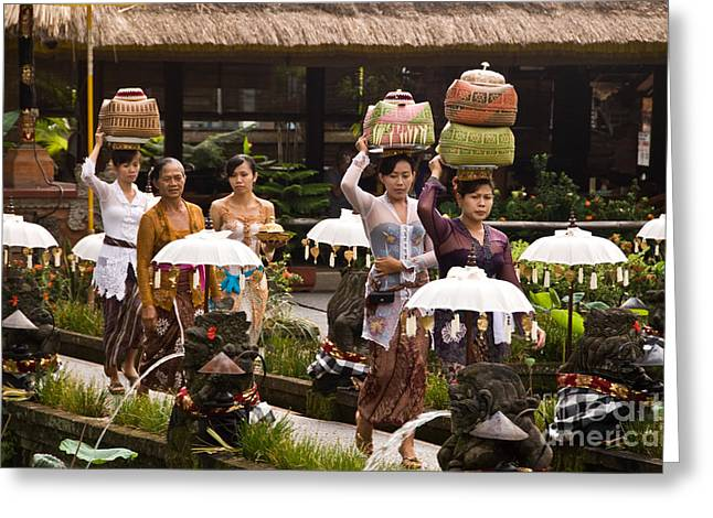 Basket Head Greeting Cards - Bali Temple Offerings Greeting Card by Rick Piper Photography