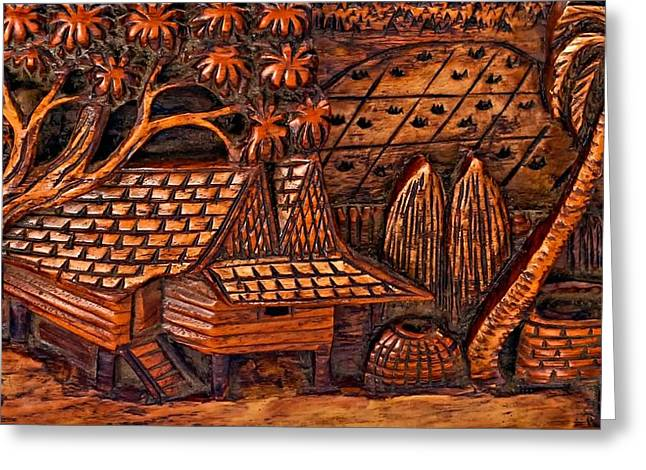 Village Life Greeting Cards - Bali Wood Carving Greeting Card by Steve Harrington
