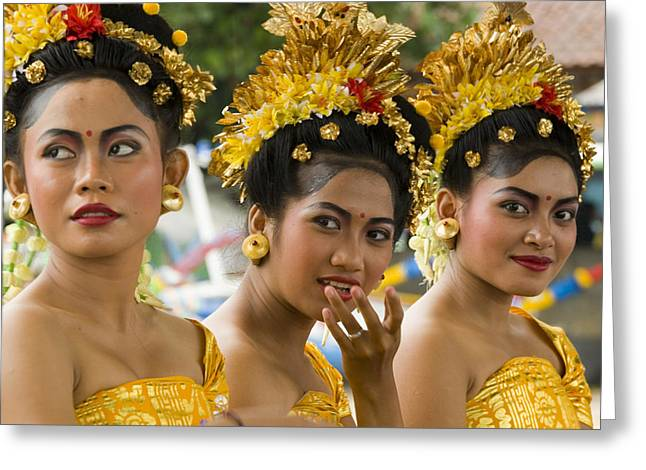 Mid-adult Greeting Cards - Balinese Dancers Greeting Card by David Smith