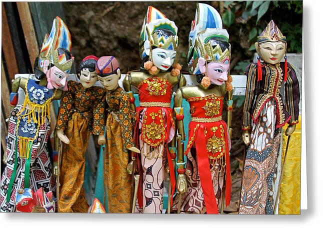 Animate Object Greeting Cards - Balinese Puppets Greeting Card by Venetia Featherstone-Witty