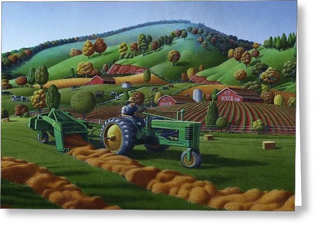 Md Paintings Greeting Cards - Baling Hay Field - John Deere Tractor - Farm Country Landscape Square Format Greeting Card by Walt Curlee