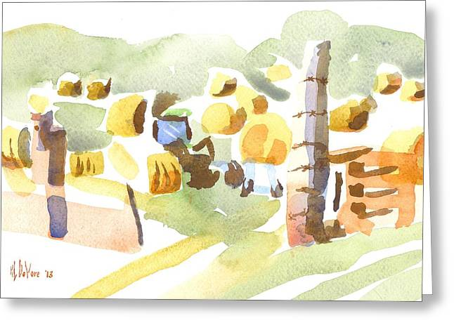 Bales Paintings Greeting Cards - Baling Hay in the Abstract Greeting Card by Kip DeVore