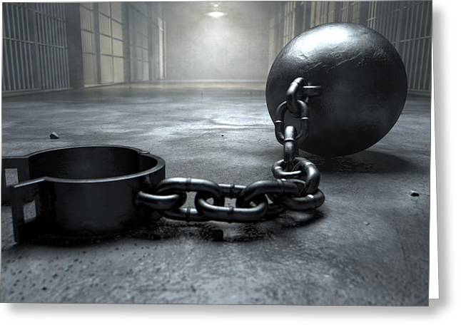 Haunted Digital Art Greeting Cards - Ball And Chain In Prison Greeting Card by Allan Swart