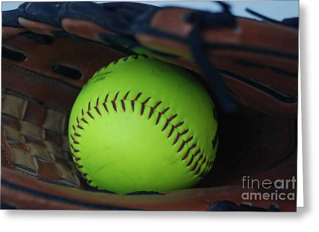 Softball Mitt Greeting Cards - Ball and Glove Greeting Card by Mark McReynolds