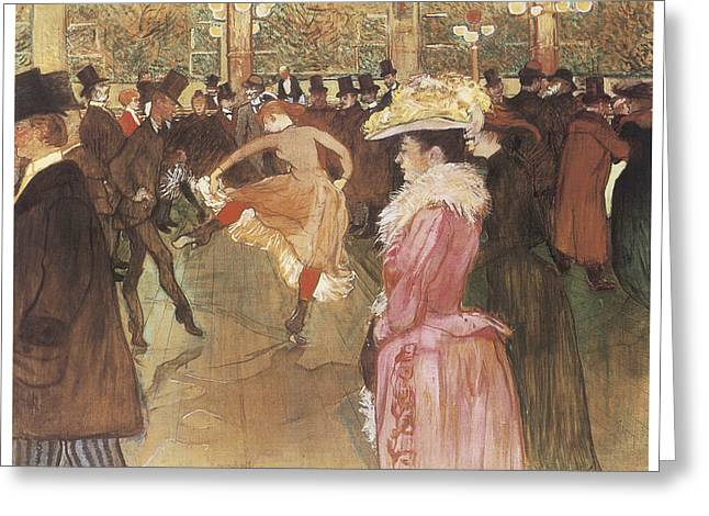 Henri De Toulouse-lautrec Paintings Greeting Cards - Ball at the Moulin Rouge Greeting Card by Henri De Toulouse-Lautrec