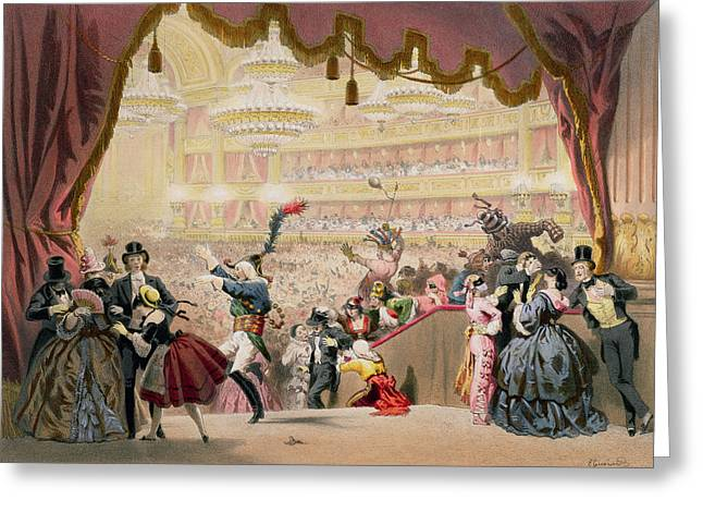 Pierrot Greeting Cards - Ball At The Opera Colour Litho Greeting Card by Eugene Charles Francois Guerard
