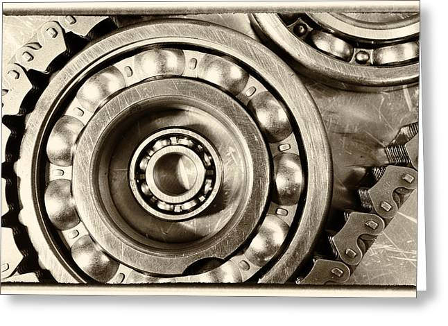 Stainless Steel Greeting Cards - Ball Bearings And Chain Old Vintage Style Greeting Card by Christian Lagereek
