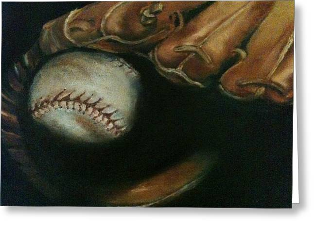 Baseball Paintings Greeting Cards - Ball in Glove Greeting Card by Lindsay Frost