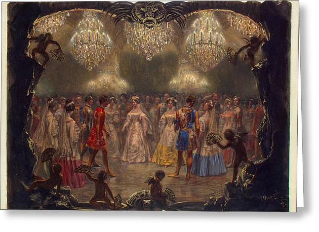 Menzel Greeting Cards - Ball in the New Palace Greeting Card by Adolph von Menzel
