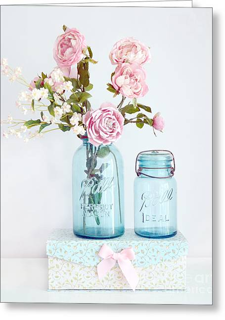Floral Photos Greeting Cards - Roses in Ball Jars Aqua Dreamy Shabby Chic Floral Cottage Chic Pink Roses In Vintage Blue Ball Jars  Greeting Card by Kathy Fornal