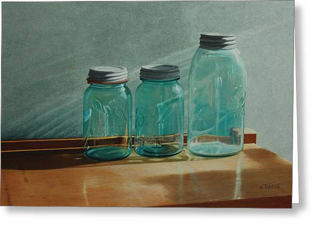 Lids Greeting Cards - Ball Jars Take on Light Greeting Card by Nancy Teague