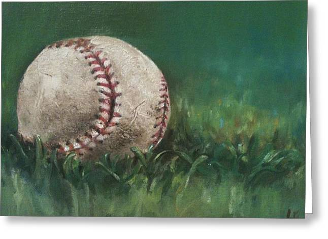 Baseball Paintings Greeting Cards - Ball Number One Greeting Card by Lindsay Frost