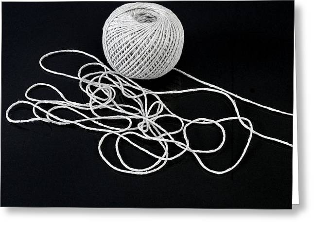 Unwind Photographs Greeting Cards - Ball of string Greeting Card by Science Photo Library