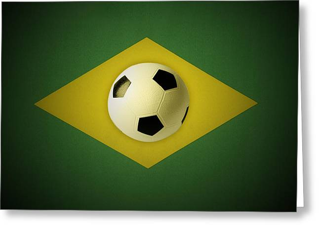 Football Photographs Greeting Cards - Ball on flag Greeting Card by Les Cunliffe