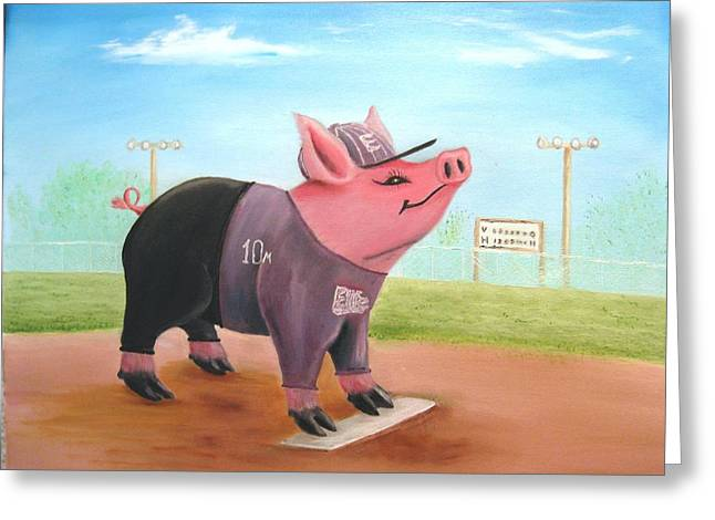 Softball Paintings Greeting Cards - Ball Pig with Attitude Greeting Card by Bobby Perkins