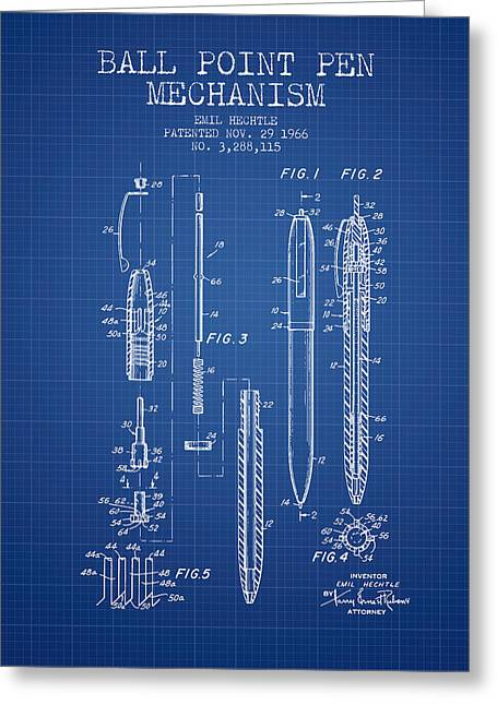Ball Point Pen Greeting Cards - Ball Point Pen mechansim patent from 1966 - Blueprint Greeting Card by Aged Pixel