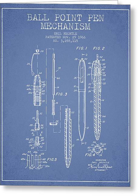 Ball Point Pen Greeting Cards - Ball Point Pen mechansim patent from 1966 - Light Blue Greeting Card by Aged Pixel