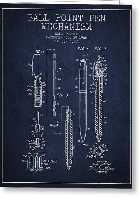 Ball Point Pen Greeting Cards - Ball Point Pen mechansim patent from 1966 - Navy Blue Greeting Card by Aged Pixel