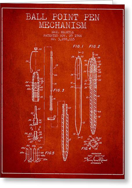 Ball Point Pen Greeting Cards - Ball Point Pen mechansim patent from 1966 - Red Greeting Card by Aged Pixel