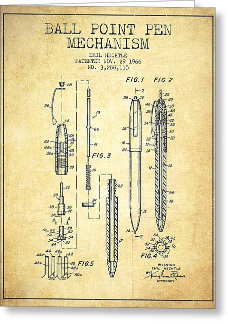 Ball Point Pen Greeting Cards - Ball Point Pen mechansim patent from 1966 - Vintage Greeting Card by Aged Pixel