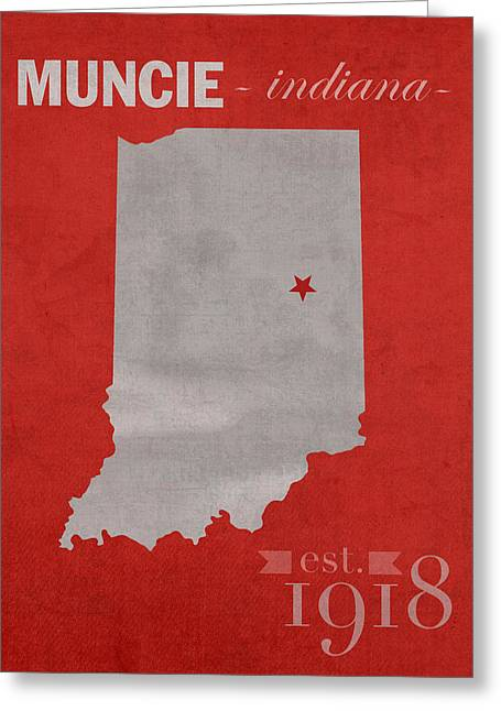 Ball Mixed Media Greeting Cards - Ball State University Cardinals Muncie Indiana College Town State Map Poster Series No 017 Greeting Card by Design Turnpike