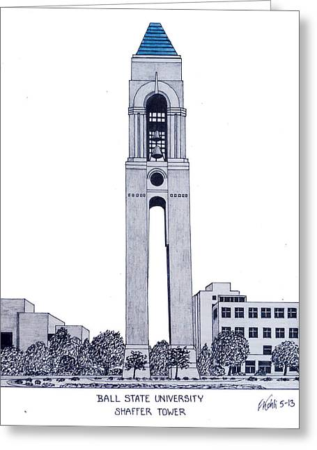 Print Greeting Cards - Ball State University Greeting Card by Frederic Kohli