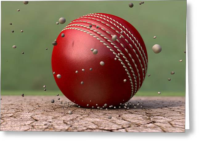 Cricket Greeting Cards - Ball Strike Greeting Card by Allan Swart