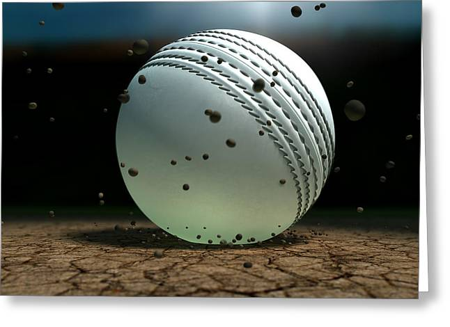 Cricket Greeting Cards - Ball Striking Bounce Greeting Card by Allan Swart