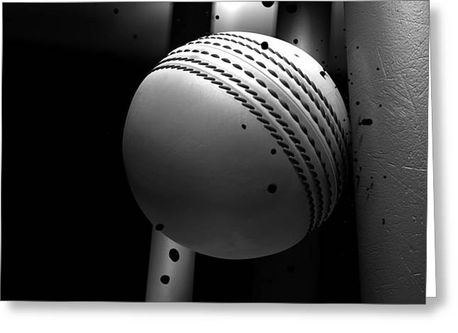 Collisions Greeting Cards - Ball Striking Stumps Greeting Card by Allan Swart