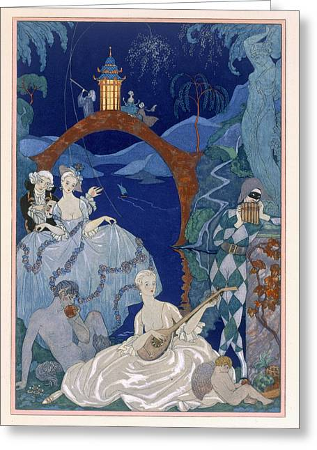 Astronomers Greeting Cards - Ball Under the Blue Moon Greeting Card by Georges Barbier