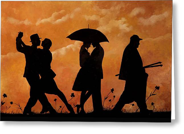 Umbrella Greeting Cards - Ballando E Altro Greeting Card by Guido Borelli