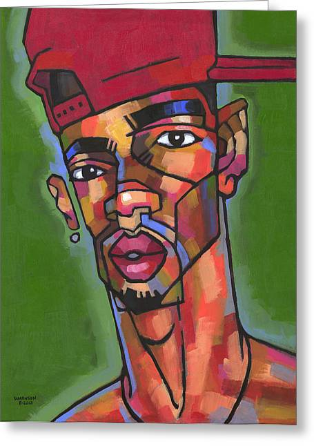 African-american Paintings Greeting Cards - Baller Greeting Card by Douglas Simonson