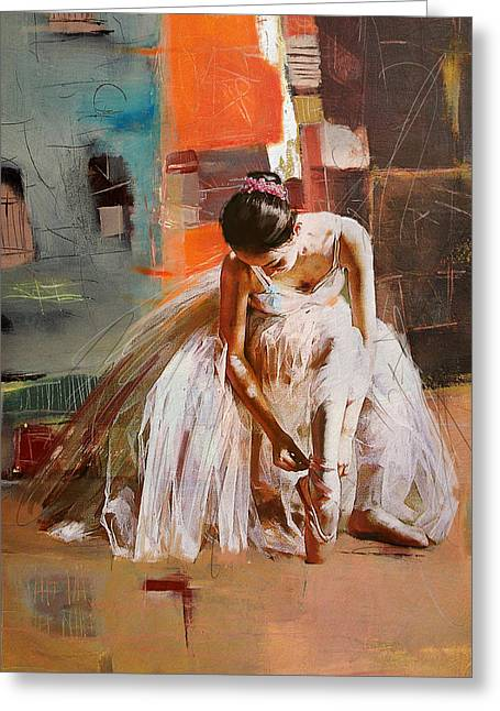 Ballet Dancers Paintings Greeting Cards - Ballerina 20 Greeting Card by Mahnoor Shah