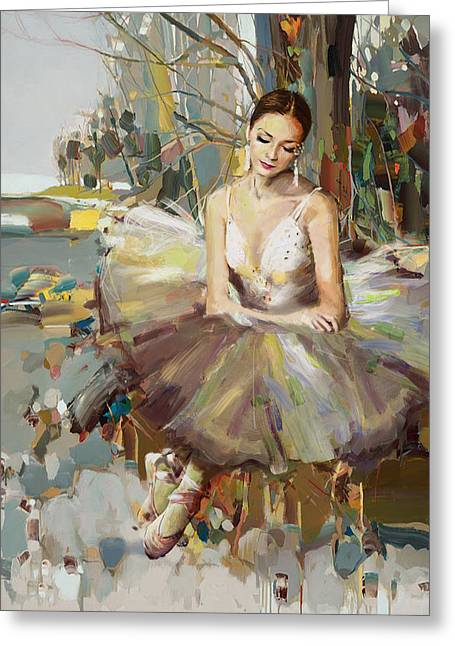 Ballet Dancers Greeting Cards - Ballerina 32 Greeting Card by Mahnoor Shah