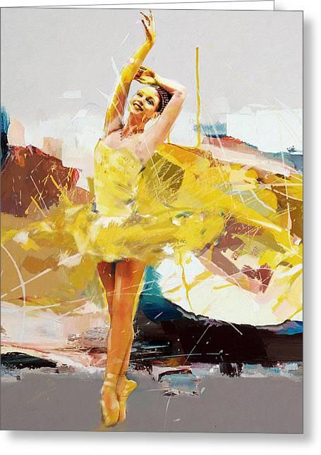 Ballet Dancers Greeting Cards - Ballerina 33 Greeting Card by Mahnoor Shah