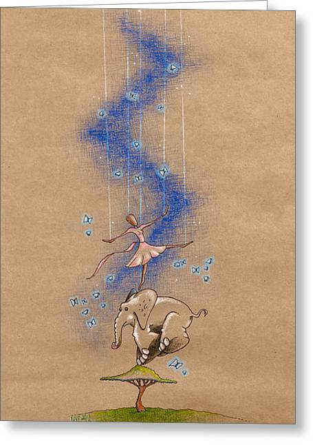 D.w Greeting Cards - Ballerina and Elephant Greeting Card by David Breeding