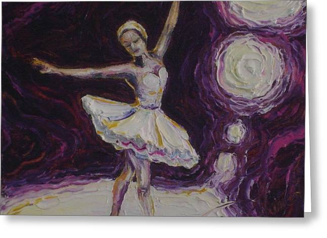 Paris Wyatt Llanso Greeting Cards - Ballerina Dancin in Purple Greeting Card by Paris Wyatt Llanso
