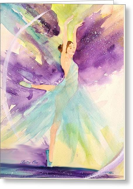 Dancing Girl Greeting Cards - Ballerina Dream Greeting Card by Bette Orr