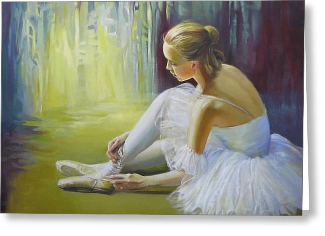 Dance Floor Paintings Greeting Cards - Ballerina Greeting Card by Elena Oleniuc