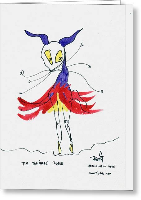 Ballet Dancers Drawings Greeting Cards - Ballerina en pointe Greeting Card by Tis Art