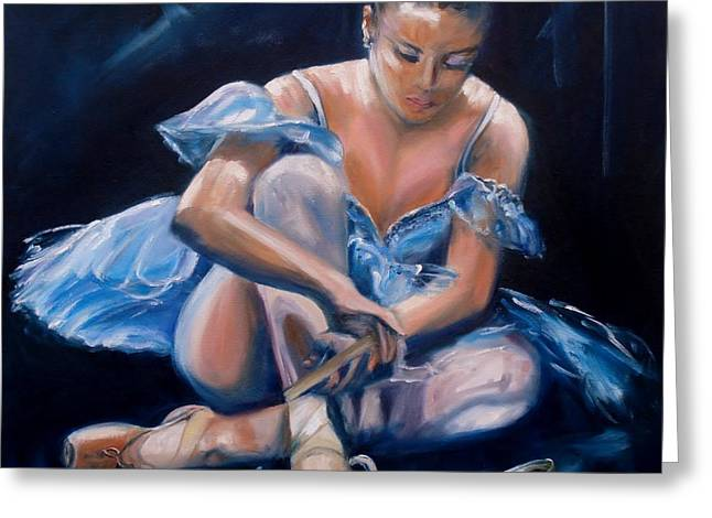 Tying Shoe Greeting Cards - Ballerina II Greeting Card by Donna Tuten