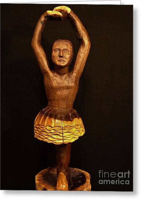 Wood Carving Pastels Greeting Cards - Ballerina II Greeting Card by John Sekela