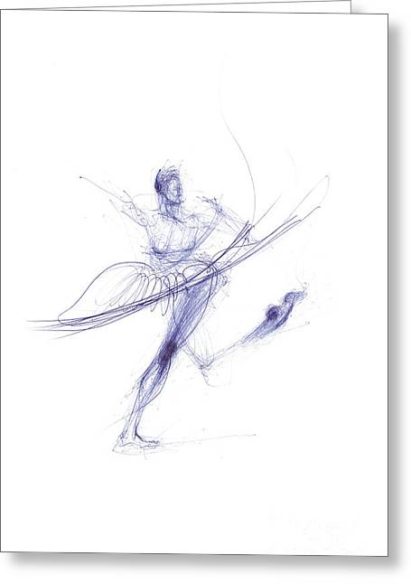Plies Greeting Cards - Ballerina In Cobalt Blue Greeting Card by Lousine Hogtanian