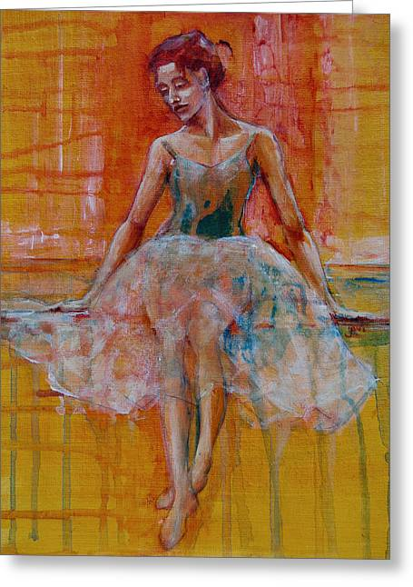Dancer Pictures Greeting Cards - Ballerina In Repose Greeting Card by Jani Freimann