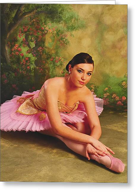 Ballet Of Colors Greeting Cards - Ballerina In The Rose Garden Greeting Card by ARTography by Pamela  Smale Williams