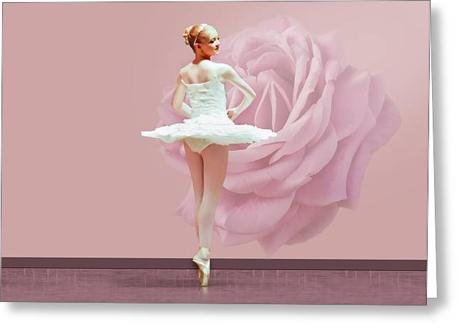 Dance Ballet Roses Greeting Cards - Ballerina in White with Pink Rose  Greeting Card by Delores Knowles