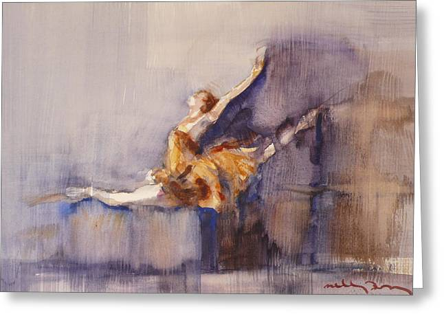 Ballet Dancers Drawings Greeting Cards - Ballerina Greeting Card by Michele Bajona