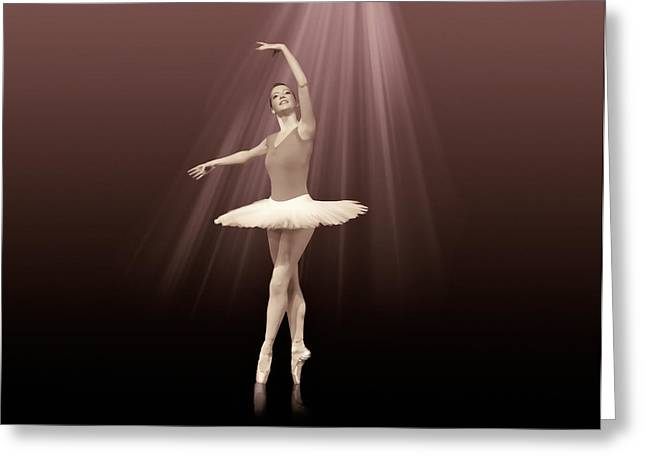 Customizable Greeting Cards - Ballerina On Pointe in Russet Tint  Greeting Card by Delores Knowles