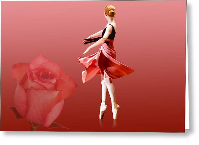 Ballerina On Pointe with Red Rose  Greeting Card by Delores Knowles